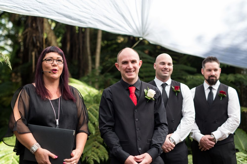 Black wedding suits | Astra Bridal | Christina Rossi | Fountain Gardens, Te Puna | Jackie O Photography