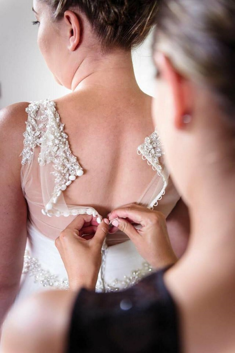 Pearl Button Illusion lace back | Astra Bridal | Maggie Sottero | The Boatshed Café, Karapiro | Jay Drew Photography