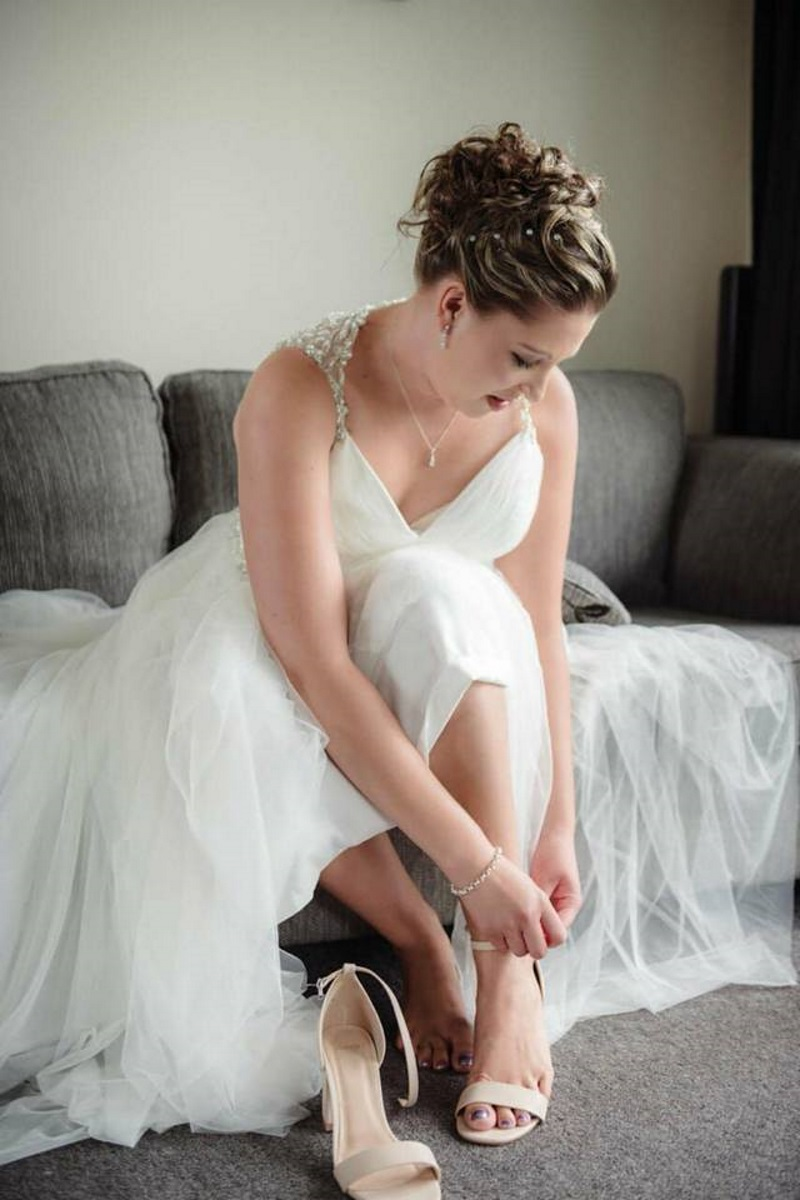 Bridal Shoes | Astra Bridal | Maggie Sottero | The Boatshed Café, Karapiro | Jay Drew Photography