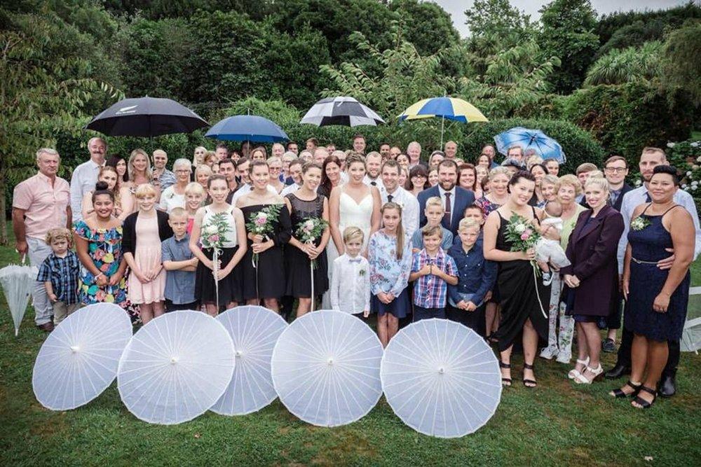 Garden Wedding | Parasols | Astra Bridal | Maggie Sottero | The Boatshed Café, Karapiro | Jay Drew Photography