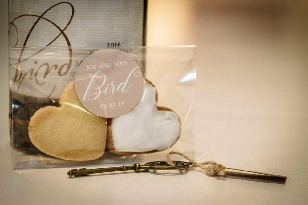 Wedding Favour biscuts | Astra Bridal | Maggie Sottero | The Boatshed Café, Karapiro | Jay Drew Photography