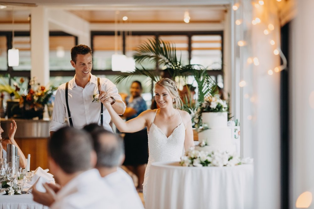 Bride and Groom Reception | Astra Bridal | Sottery & Midgley | Muri Beach Club Hotel | Alex King Photography
