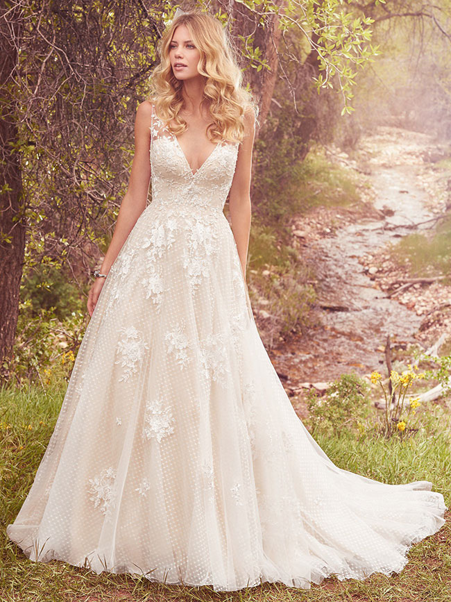 Get the Look - If you have fallen in love with this vintage-inspired ballgown featuring lace appliqués over whimsical layers of dotted tulle and Chic organza. Click the button below to book to try it on