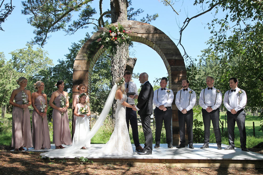 Wooden Wedding Arch | Astra Bridal | Maggie Sottero | Alisha Taylor Photography