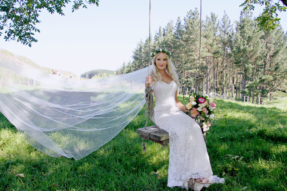 Woodland Bride | Strapless Lace Wedding Gown | Astra Bridal | Maggie Sottero | Alisha Taylor Photography