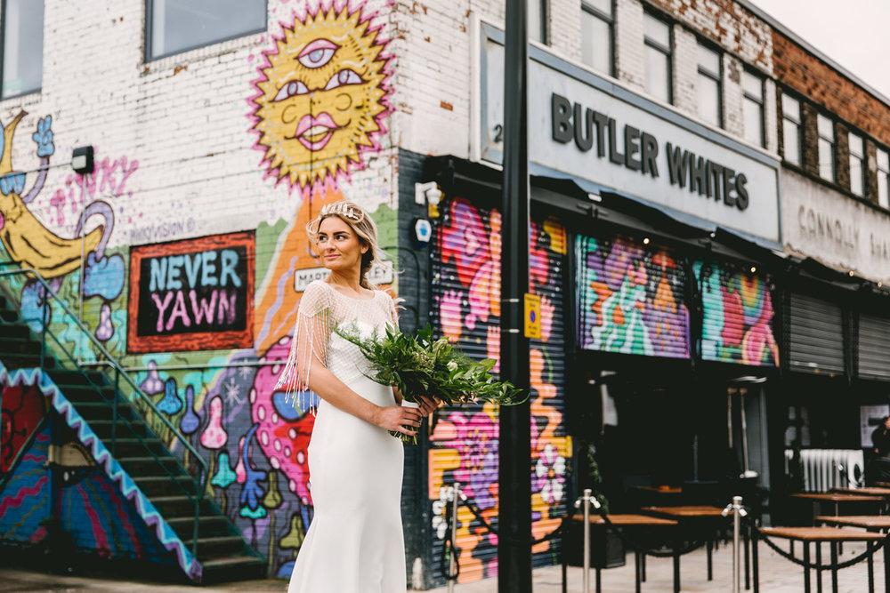 Bride and Street Art | | Butler Whites Venue | Astra Bridal | Sottero & Midgley – Liam| Jemma King Photography