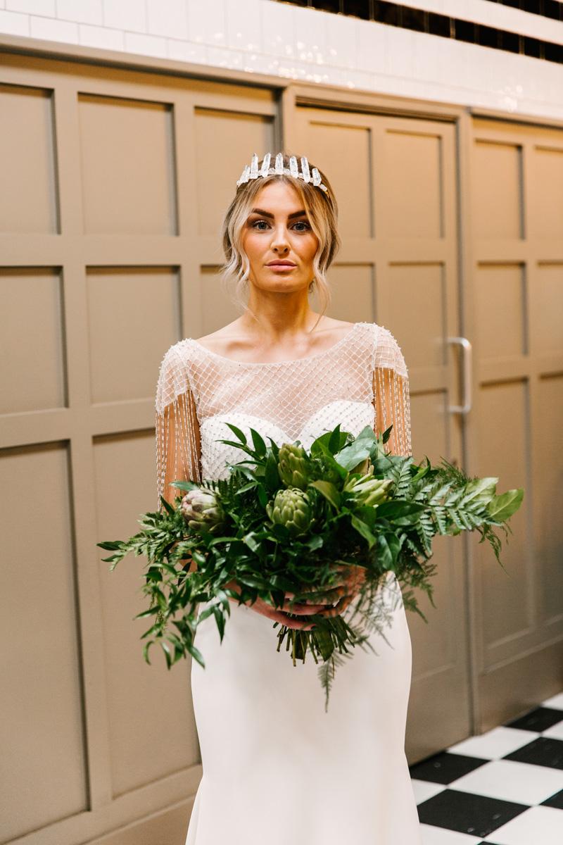Green Bouquet |  Butler Whites Venue | Astra Bridal | Sottero & Midgley – Liam| Jemma King Photography