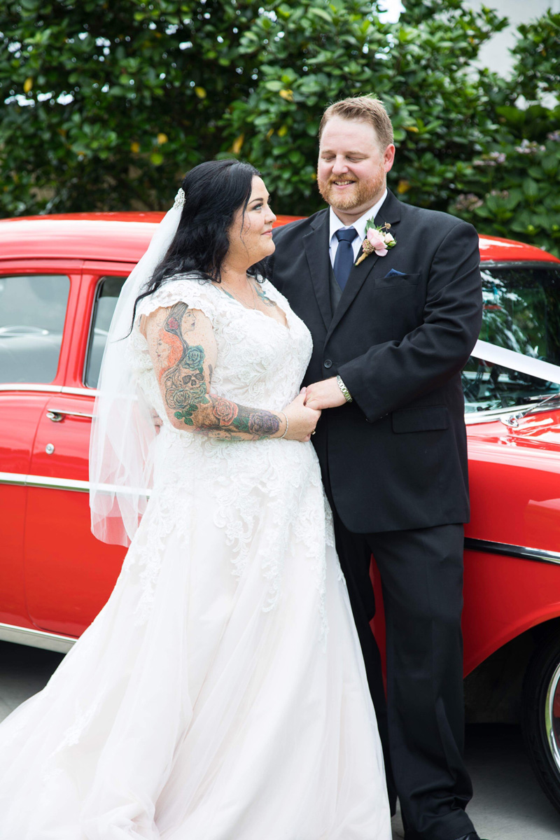 Vintage Car Bridal Transport | Garden Wedding | Astra Bridal | Bonny Bridal | Sandra Henderson Photography