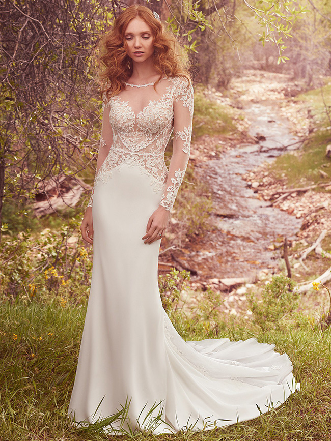 #10 Maggie Sottero - Blanche - Full length sleeve of delicate illusion lace.