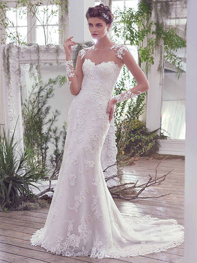 #7 Maggie Sottero - Rosaleigh - A barely there illusion lace full length sleeve.