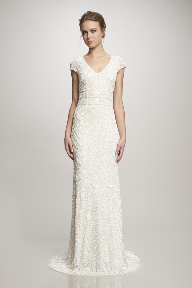 #6 Theia Bridal - Lillia - Fully beaded capped sleeve.