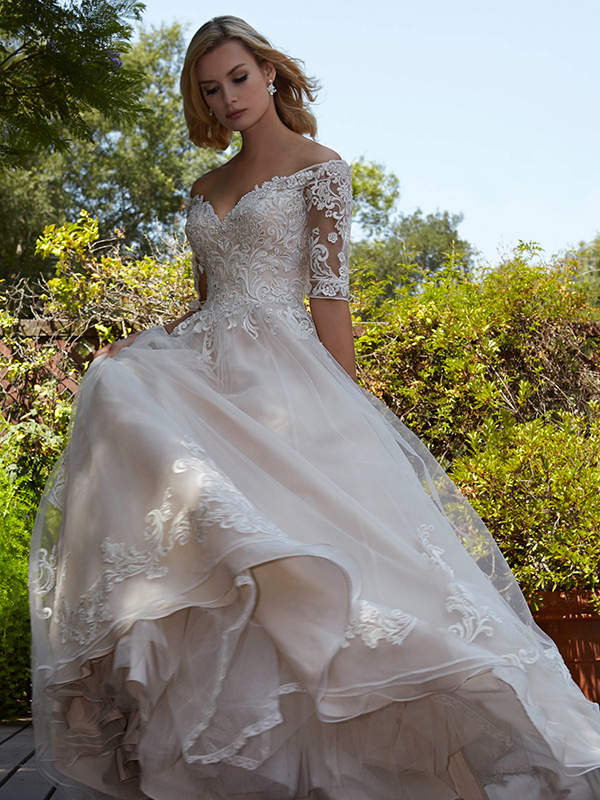 #5 Marys Bridal - D8161 - Off the shoulder, full lace half sleeve.