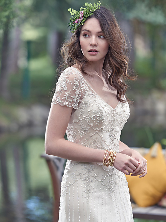 #3 Maggie Sottero - Amal - Scalloped edge illusion beaded lace short sleeve.