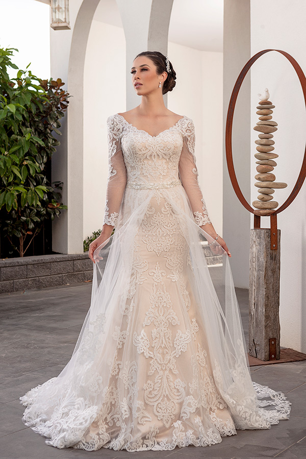 #2 Christina Rossi - 4247 - Illusion lace full length sleeve.