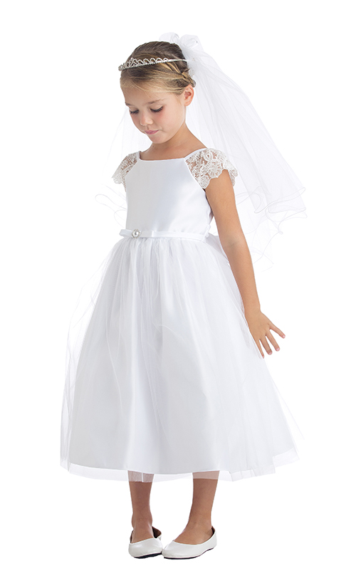 #9 - Poppie - This pretty satin dress has a lace inset sleeve, a satin skirt with a light tulle overlay finished with a diamante pearl buttoned belt.