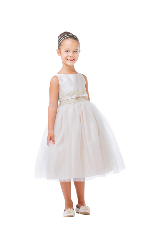 #8 - Lulu - A stunning satin dress overlaid with tulle. It has a tank top bodice and a wide band of metallic lace at the waist, topped with a bow to match.