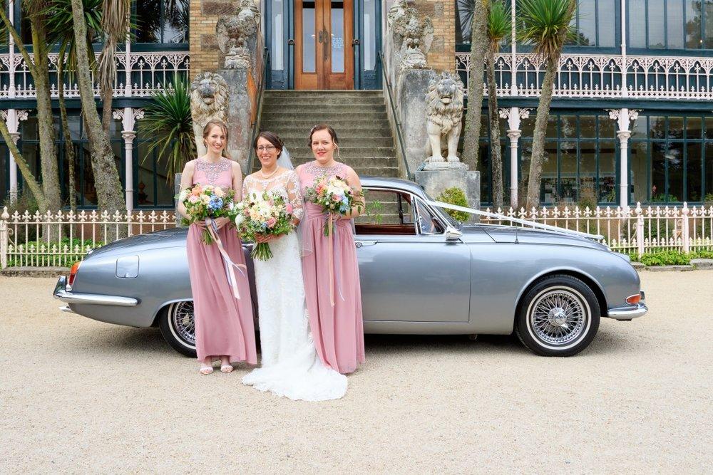 Vintage Bridal Car | Maggie Sottero | Astra Bridal | Vintage Wedding | Larnach Castle | Vanessa Adcock Photography