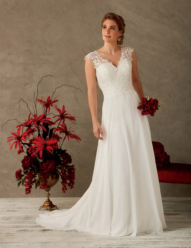 Get The Look… - If the dainty lace v-neck bodice and soft chiffon a-line of the Bonny 6527 is ticking all the right boxes for you, click on the link below to make an appointment at your nearest Astra Bridal salon to try it on.