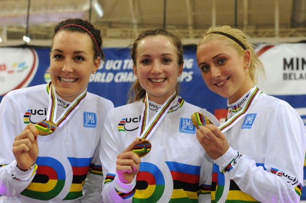 Week 3: European 2015 Champion in Team Pursuit, Elinor Barker with team mates Laura Trott and Dani King