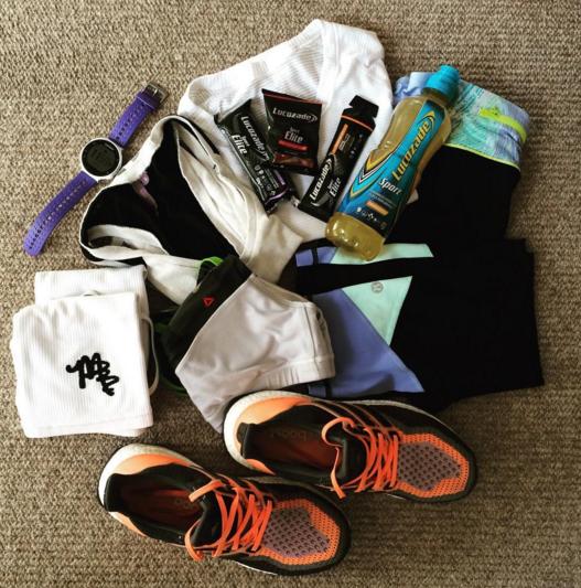 Marathon essentials: Lucozade Sport, comfy clothes, watch & shoes!