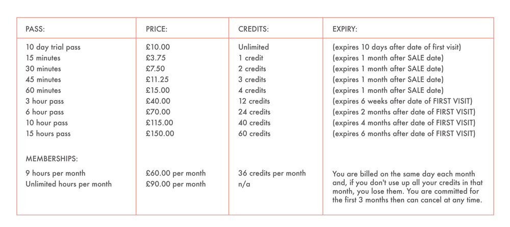 Pricing Structure 2016