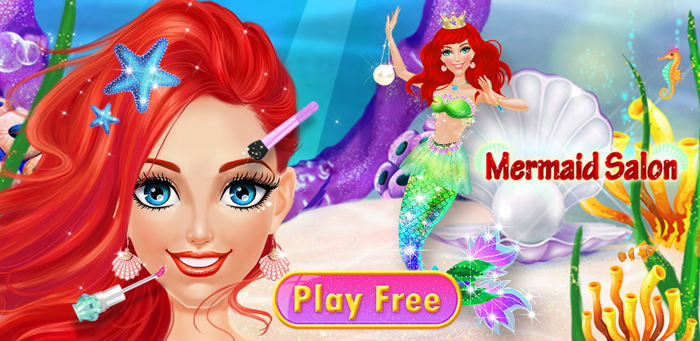 Ocean Princess - Mermaid Salon  Dive under the ocean and what do you see? Pretty mermaids who need a makeup and salon makeover! Dress up three different mermaids in a stunning ocean setting with this cute game for girls.