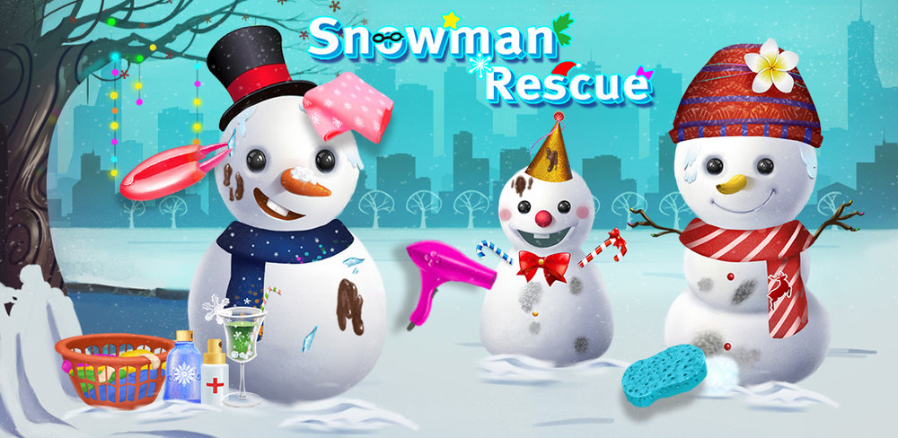 Snowman Rescue  Doctor, please! Help the poor snowman! Save him from melting in the hot sun!  Snowman Rescue is a cute doctor, dress up and decoration game for kids of all ages. Rescue four snowman characters from the heat caused by global warming.