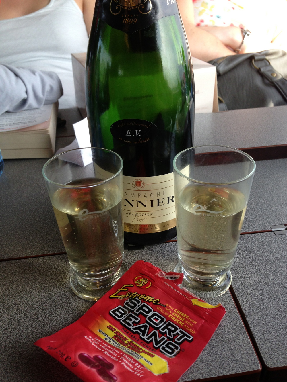 A celebratory bottle of Champagne on the Eurostar. With sports beans!