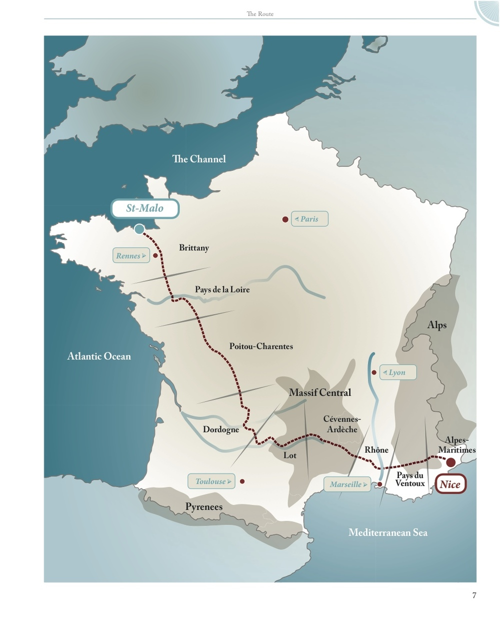 Hannah's impressive cycle route through France.