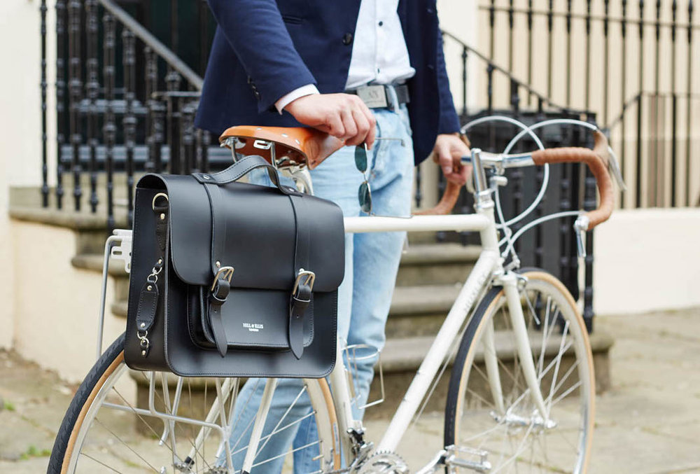 Our black satchel bike bag - named Byron after the romantic, caddish and handsome poet.