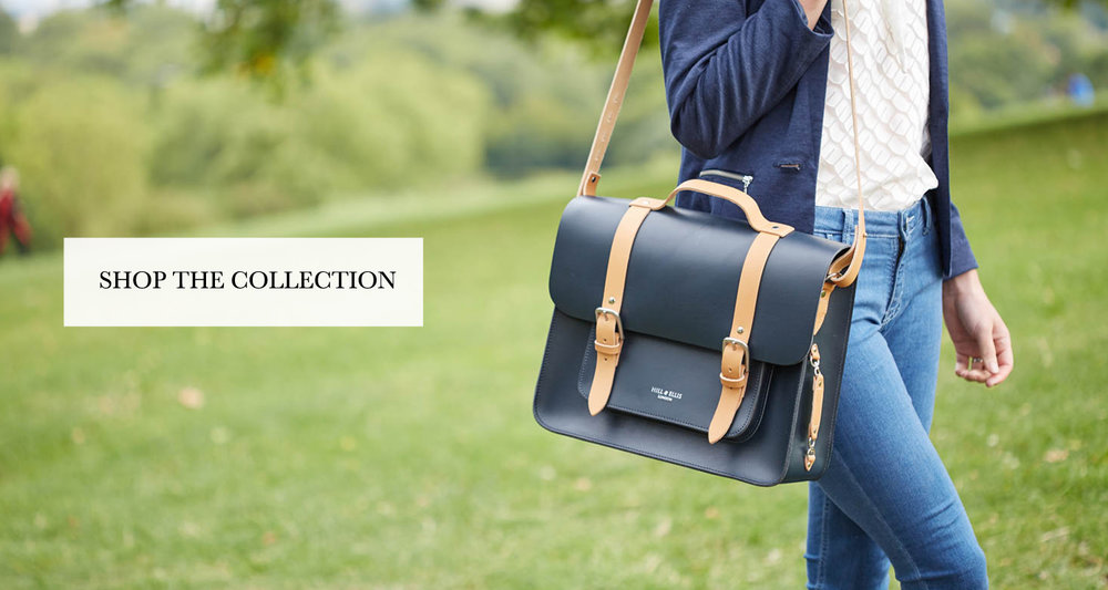 Professor Navy and Tan satchel bike bag