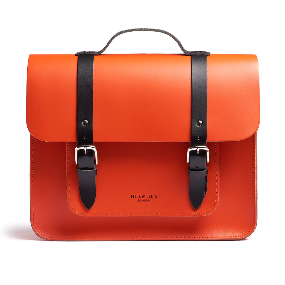 orange satchel bike bag