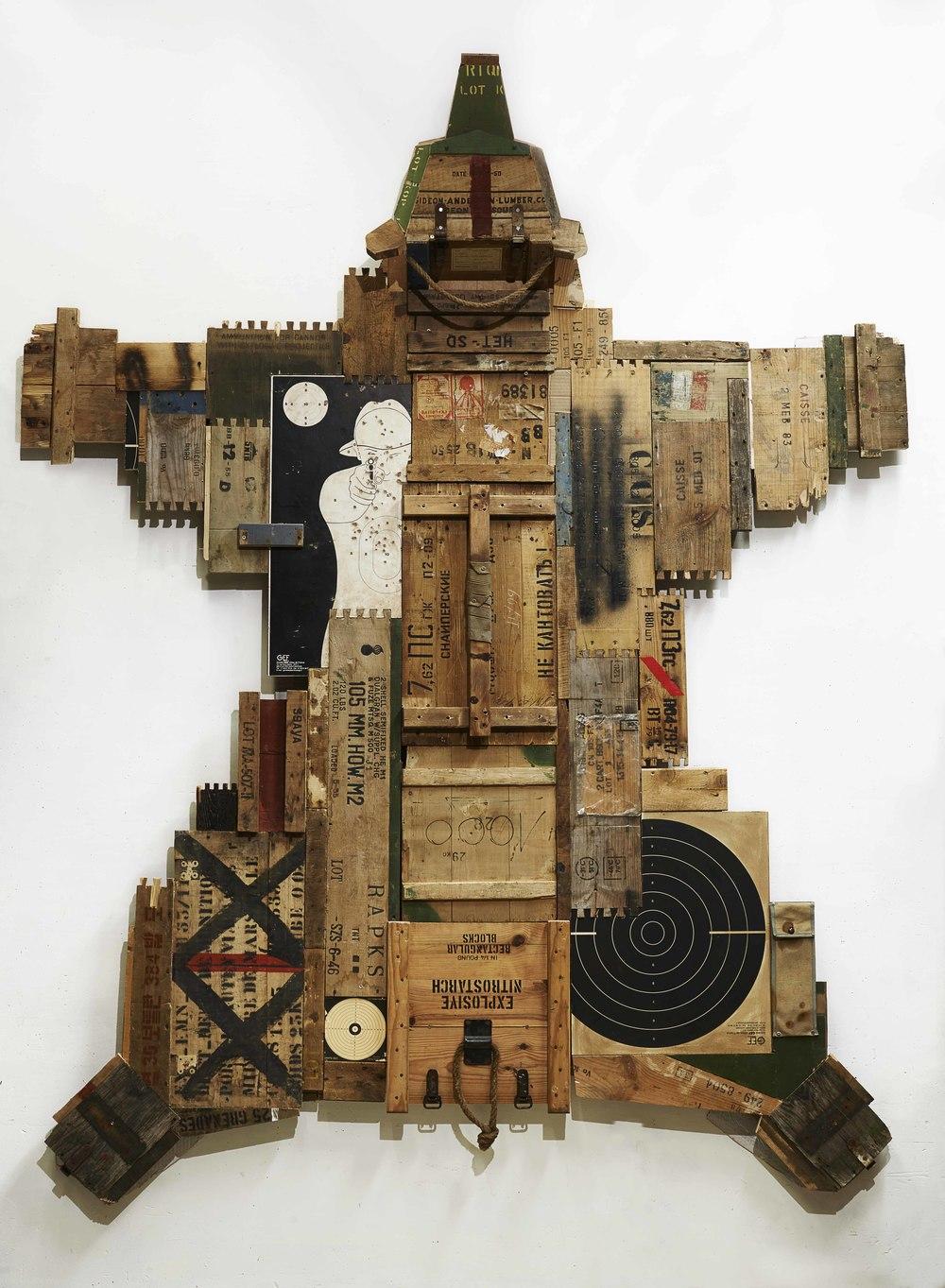 Dimitri Tsykalov, Skin XIV, 2015. Amunition Boxes, 225 x 220 x 25 cm