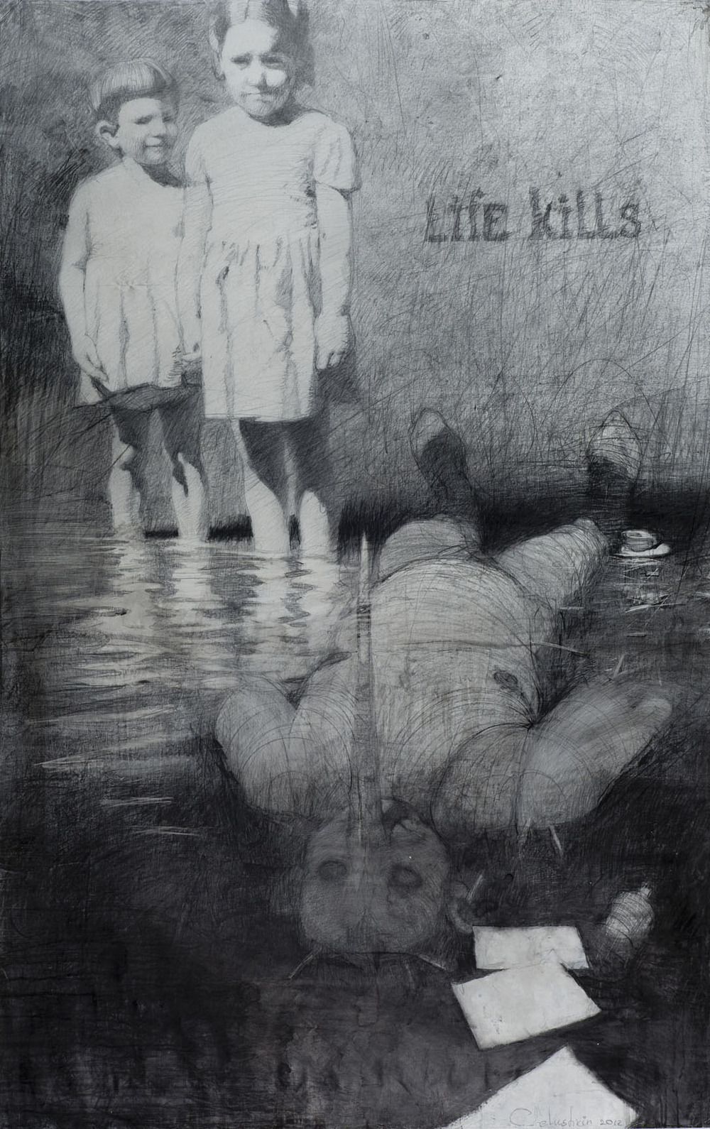 Kirill Chelushkin, Untitled Life Kills, 2012, drawing, 210 x 139 cm - Courtesy the artist and Rabouan Moussion Gallery Paris