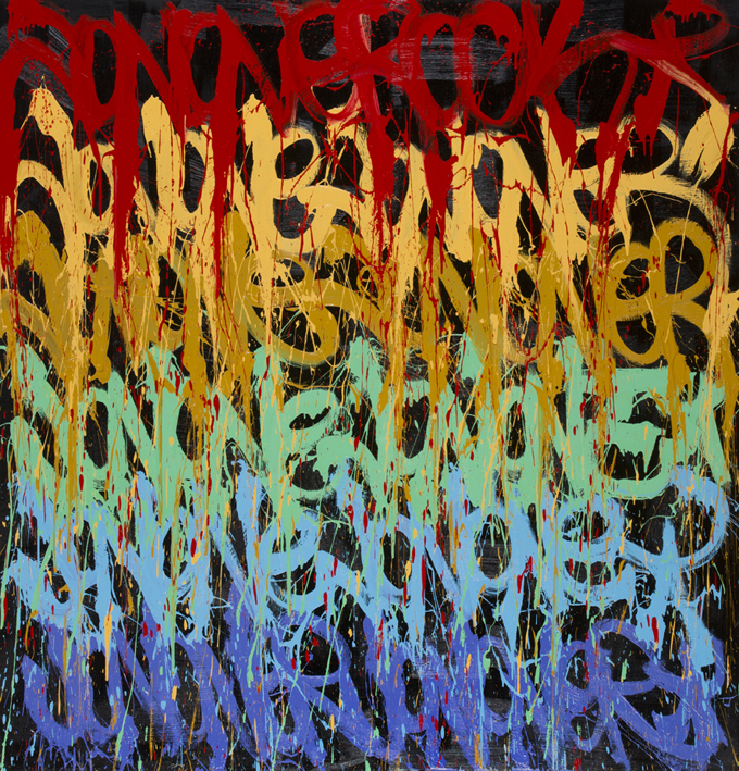 JonOne,  Wandzrlust , 2014, - 210 x 200 cm - Courtesy the artist and Rabouan Moussion Gallery Paris