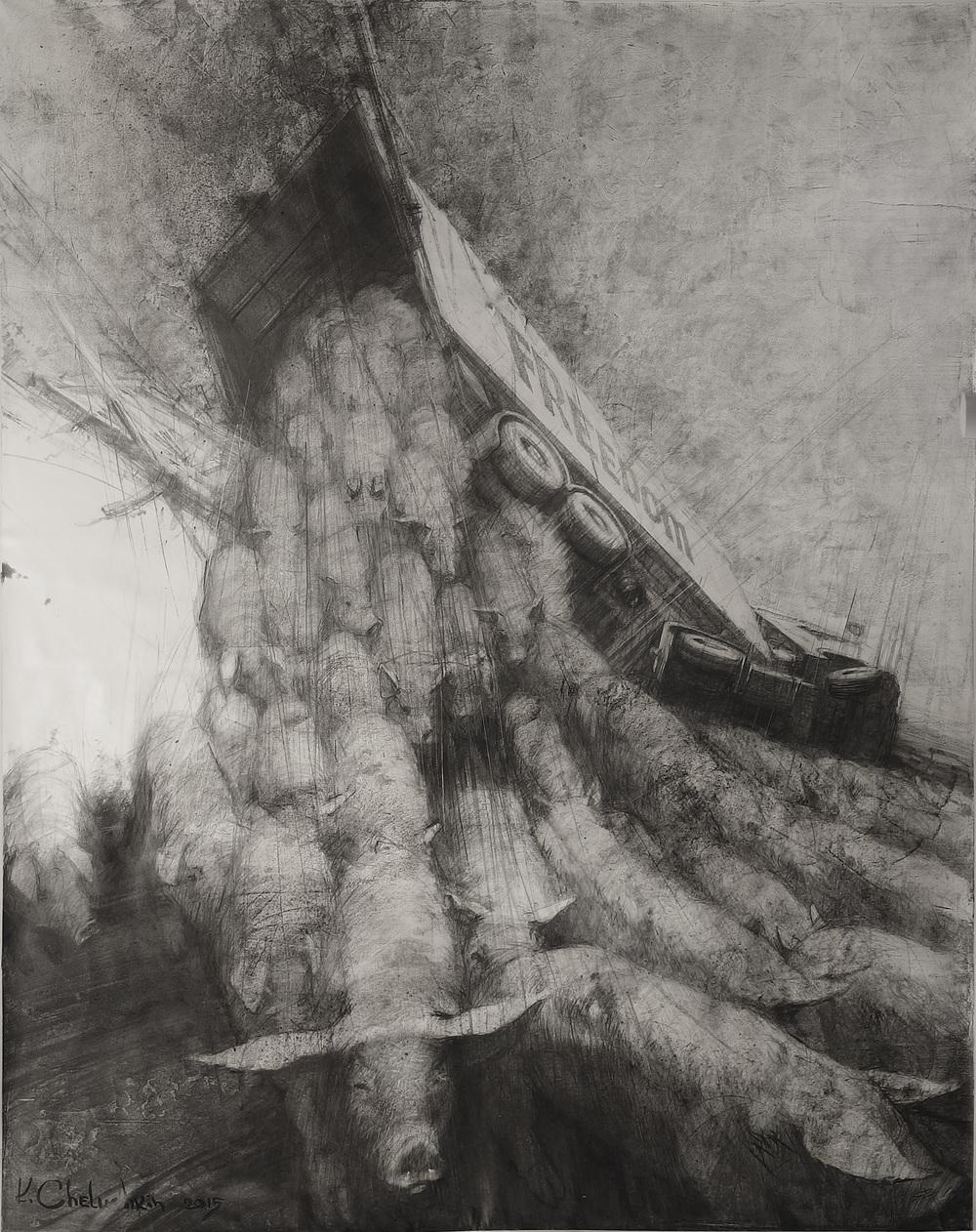 Freedom, 2015, Dessin sur toile, 200 x 100 cm.jpg