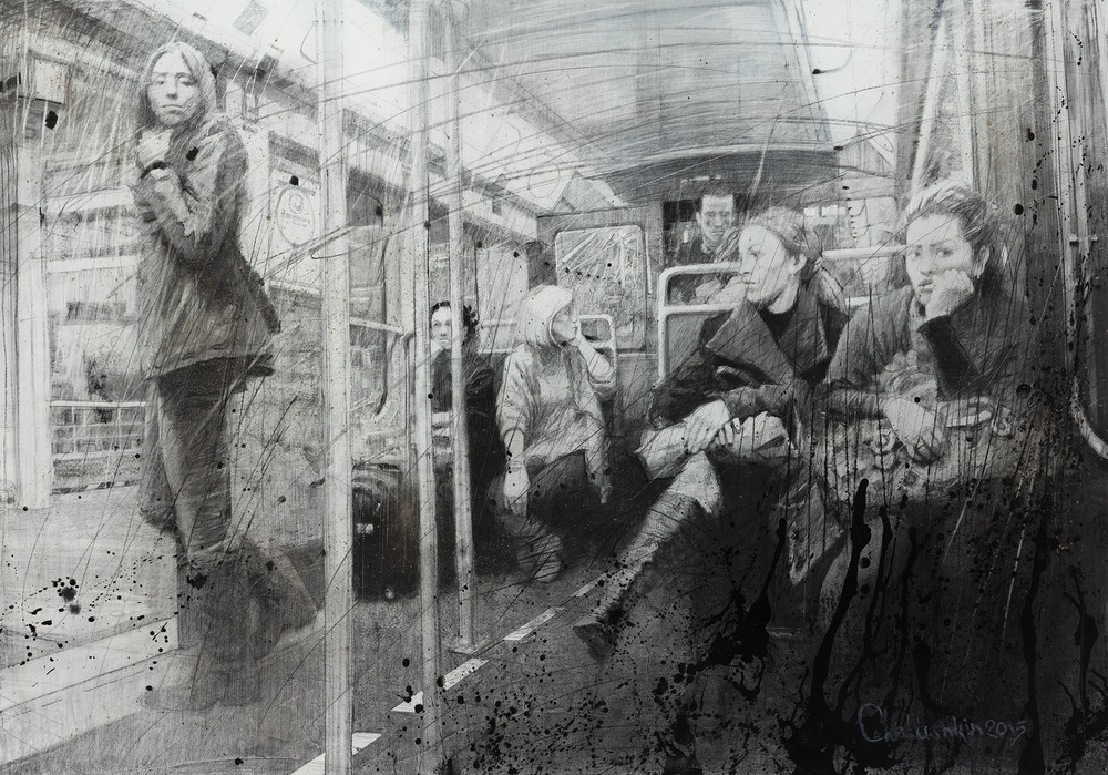 Kirill Chelushkin, Case in the Metro, 2016, drawing on canvas, 190 x 160 cm - Courtesy the artist and Rabouan Moussion Gallery Paris