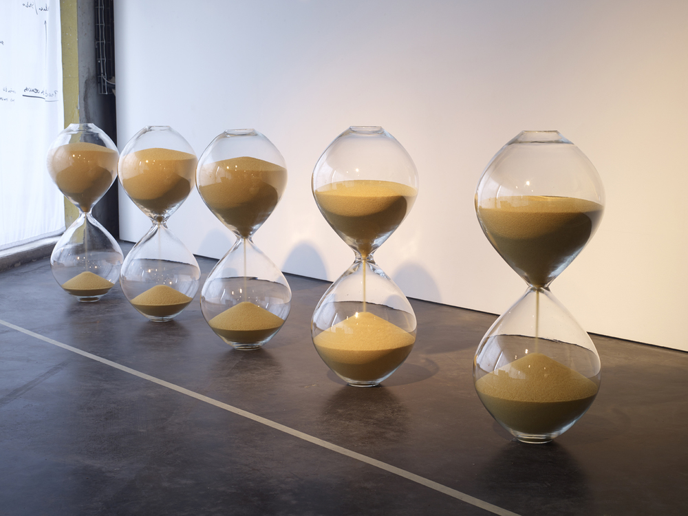 Mehdi-Georges Lahlou,   The Hourglasses, mold-blown glass, couscous 73 x 30 x 30 cm, 2015 - Courtesy the artist and Rabouan Moussion Paris