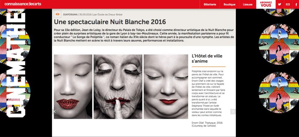 Connaissance des Arts - Erwin Olaf - Nuit Blanche 2016