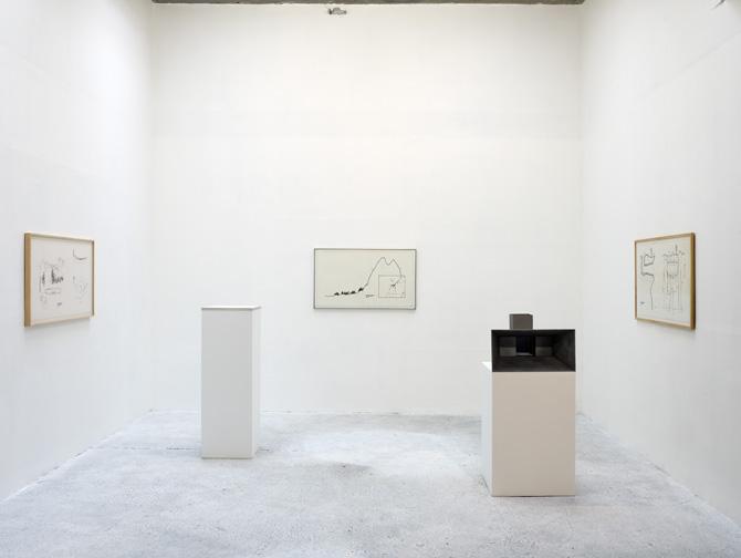 """Vue de l'exposition """"Une Pièce de plus"""", CCC de Tours, 2010. """"Initiation space n°1"""", """"Initiation space n°2"""", """"Initiation space n°3 """" (1970).Tirages gélatine sur papier, 1970 et maquettes, 2010  Courtesy the artist and Rabouan Moussion Gallery"""