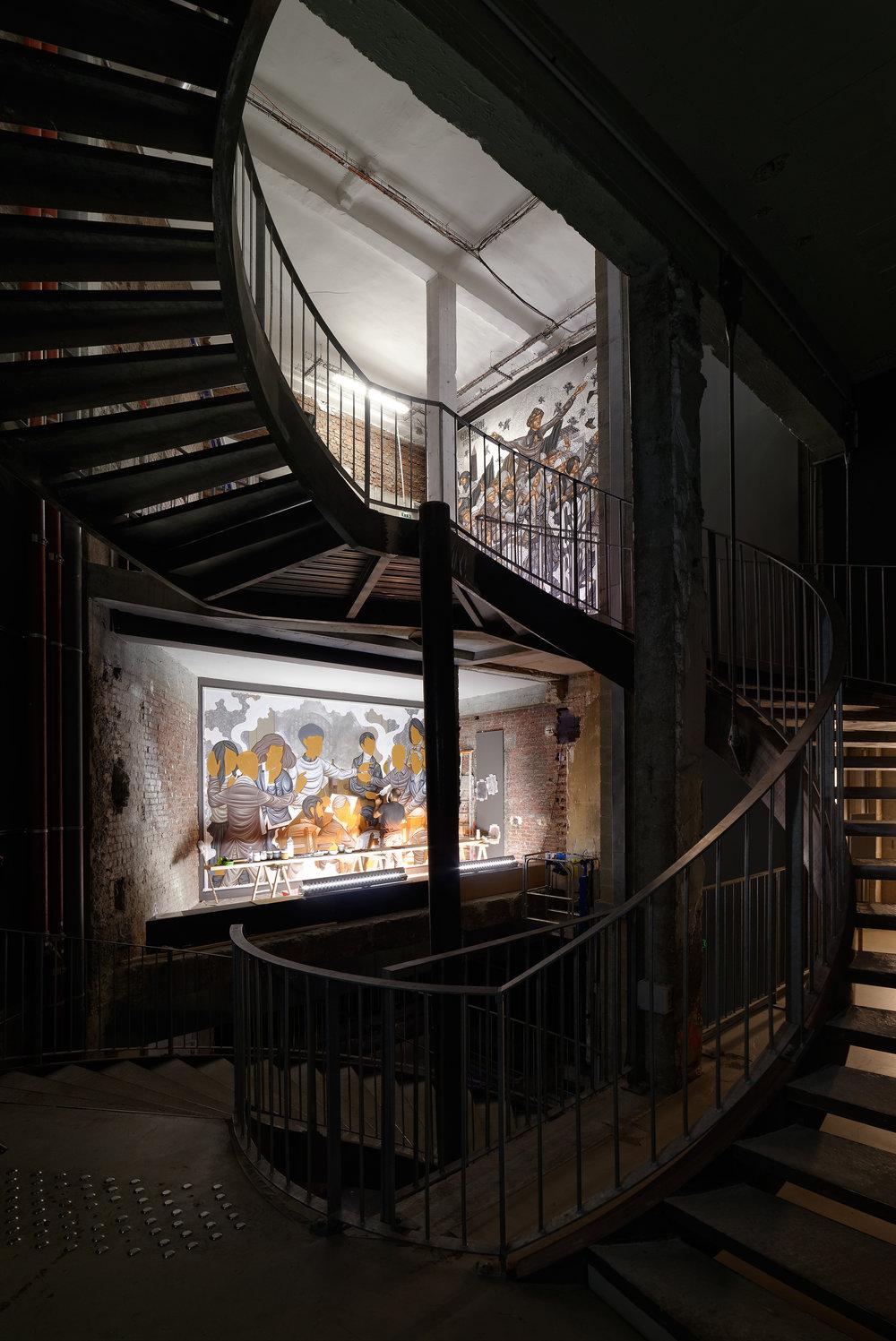 Stelios Faitakis - Vue de la double intervetion au Palais de Tokyo