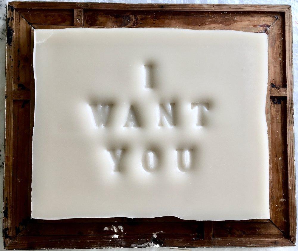 I Want you, 2018, cire et cadre ancien
