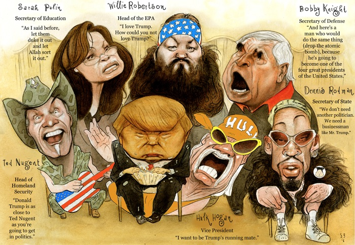 cartoon of possible President Trump cabinet by the excellent Steve Brodner