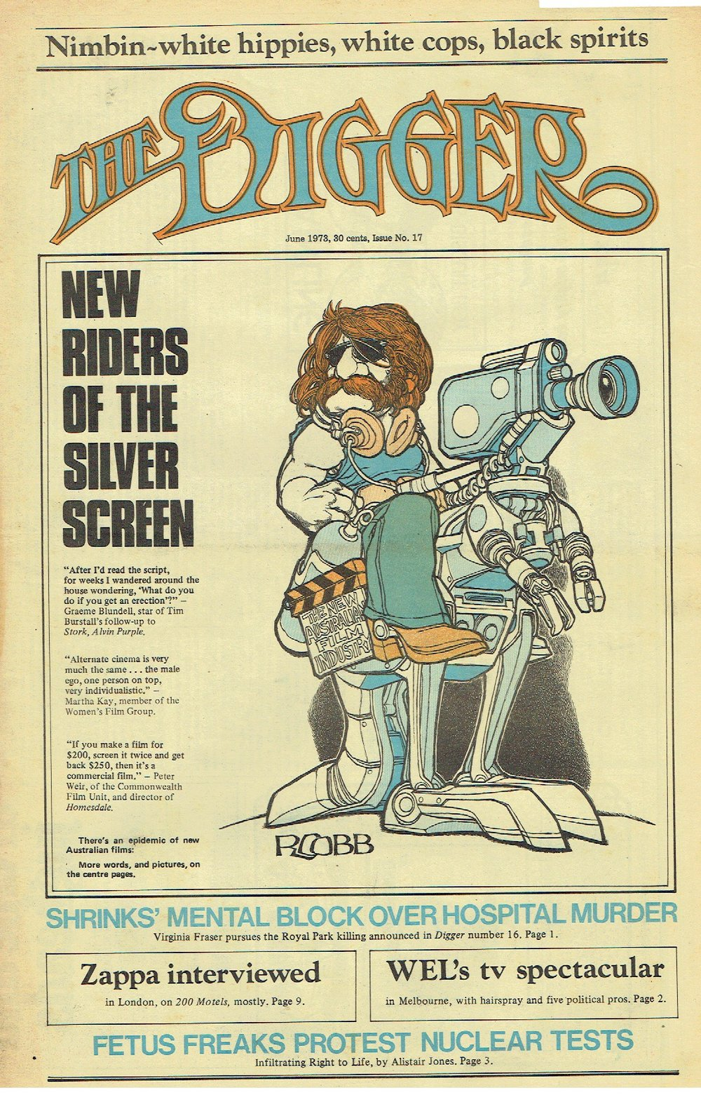 A 1973 cover page of The Digger, the magazine in which Helen Garner made her (fateful) reporting debut
