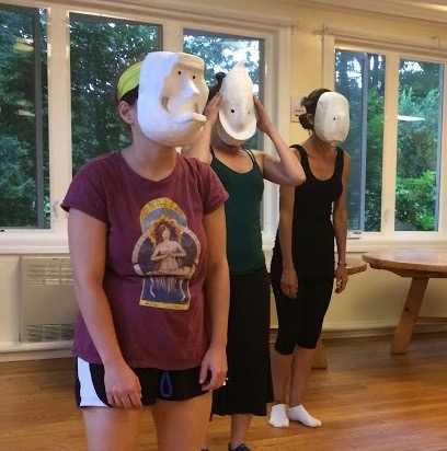 Me in the white socks. Larval masks by David Lane.