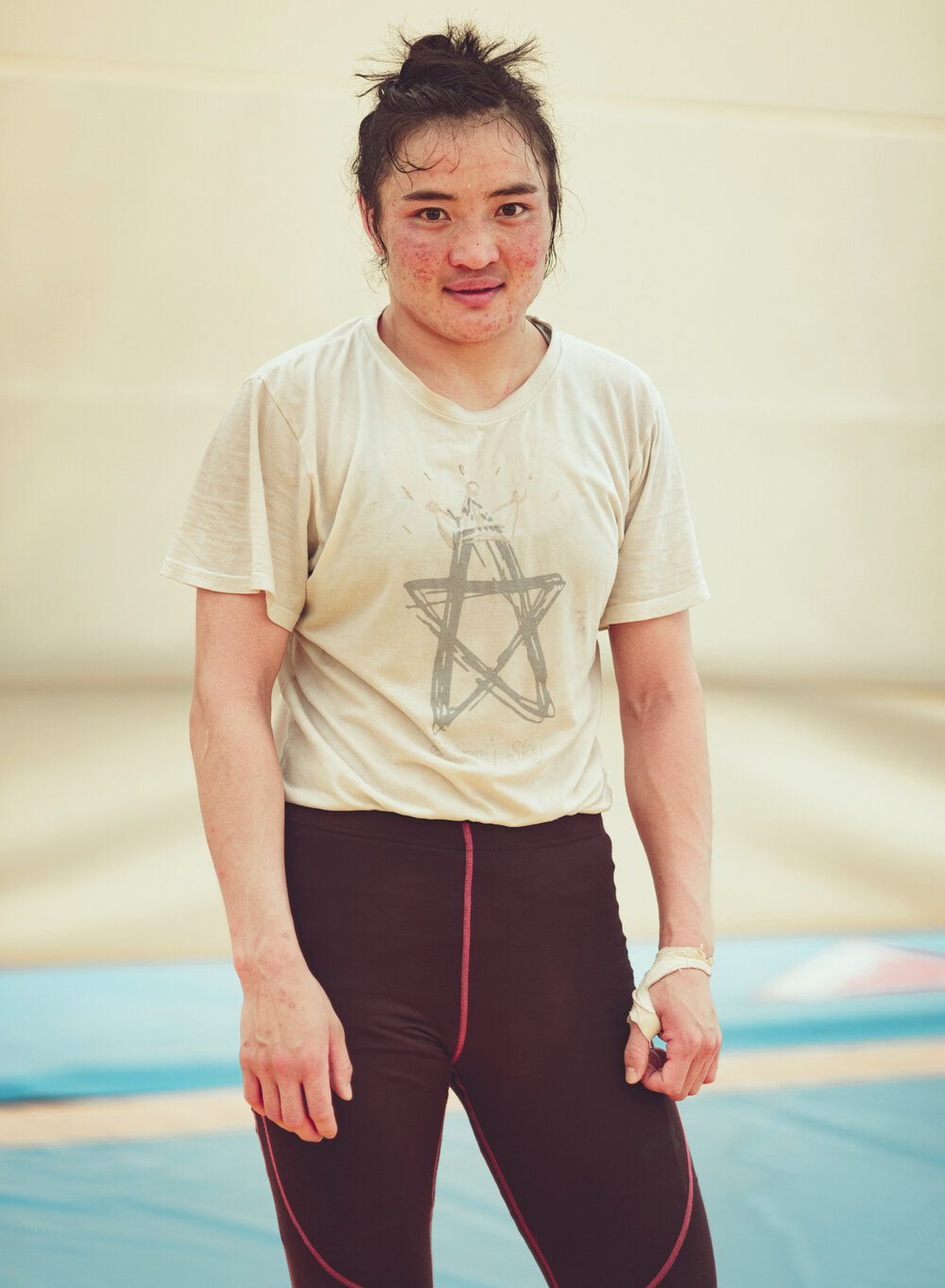 Training with the Mongolian women's wrestling team. Baku, 2015.