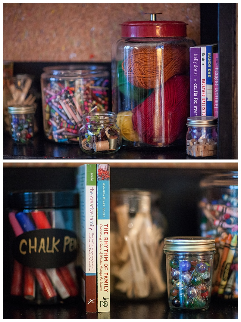 Jars and organizing in homeschool room