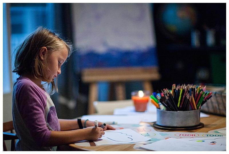Girl coloring in Homeschool room, Jenks, OK
