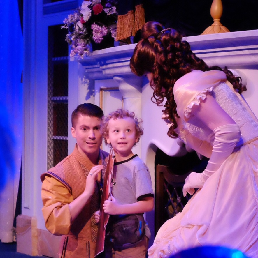 The littles were in an interactive play with Belle.