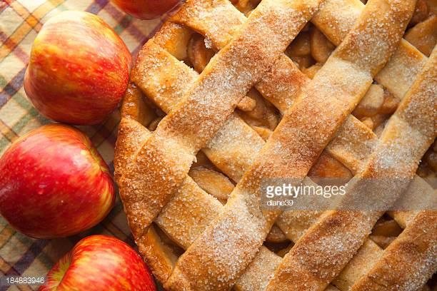 Appeltaart. - Boter, suiker, ei, bloem, citroenrasp, zout, appels, kaneel, cake, rozijnen, citroensap, abrikozen jam, witte basterdsuiker, bloem€ 25,50